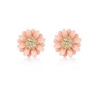 Pink daisy flower stud earrings