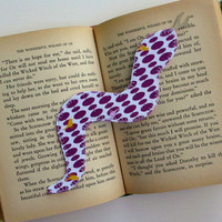 Childrens Bookmark, Snake, Purple Fabric Bookmarker