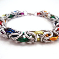 Chainmail Bracelet Rainbow Byzantine by SerenityInChains on Etsy