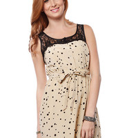 Papaya Clothing Online :: LACE YOKE DOT PATTERN DRESS