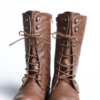 On the Base Military Lace Up Boot in Tan - $40.00 : ThreadSence, Women&#x27;s Indie &amp; Bohemian Clothing, Dresses, &amp; Accessories