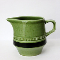 Vtg Olive green creamer JAPAN Small pitcher Fugi-Stone Moss Antigua