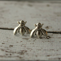 Bee Earrings in Antiqued Silver