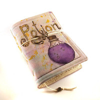 Journal Notebook Diary Painted Fabric Purple Potion by Kreativlink