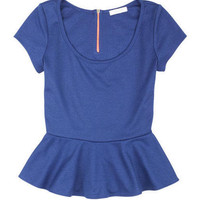 Contrast Zip Short Sleeve Peplum