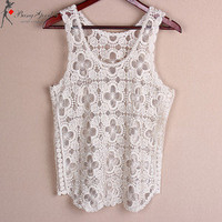 Gold New Stylish Sexy Ladies' Slim Flower Lace Vest Sleeveless Top