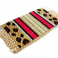 Bling Crystal Leopard Pearl Gold Back Case Cover For iPod Touch 5 5G 5th Gen US