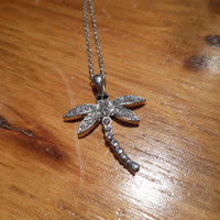Dragonfly Necklace  Rhinestone Dragonfly Necklace by LiveCoastal