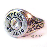 Federal Bullet casing Ring 45 Auto Shotgun Bullet Jewelry oak leaf ring adjustable
