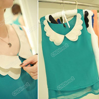 2012 Vintage WomenCute Color Blouse Sleeveless Double Bow Collar Shirt Chiffon