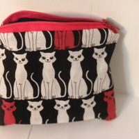 Zipper Pouch or Change Purse for coins Cats by redmorningstudios