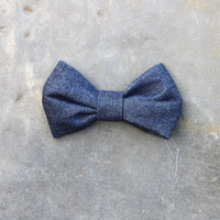 Denim bow tie in dark blue by ToucanBleu on Etsy