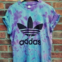 Cryptic Cult  vintage tie dye ADIDAS originals trefoil t shirt