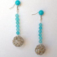 Silver and Aqua Bead Earrings by StrictlyCute on Etsy
