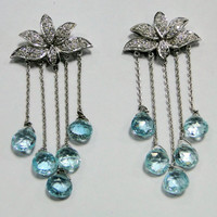 Xmas 18 ct white gold Aquamarine Diamonds earrings by Amrapali