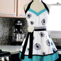 Women's Apron Kitchen Apron Halter with Double by twodesigndivas
