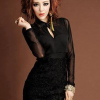 HEGO Little Black  Crochet  Lace  Dress  Z9863