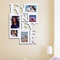 "Amazon.com: 5 Opening FOREVER Photo Picture Frame - 12AD001-W ADECO - Wall Art,Wall Collage, Holds Two 4x6, Two 4""x4"" Inch, and One 5""x7"" Inch Photos Great Gift,Wooden,White: Home & Kitchen"