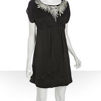 BCBGMAXAZRIA black silk leaf detail empire waist dress | BLUEFLY up to 70% off designer brands
