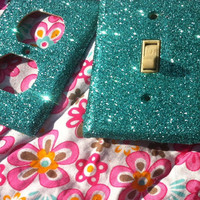 Aqua Glitter Switchplate / Outlet Cover Set by ArtZodiac on Etsy