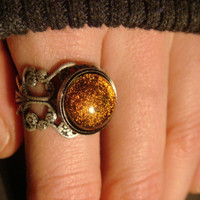 Antique Silver Ox Dichroic Glass Galaxy Ring  - Adjustable (863)