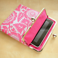 iPad Case or Sleeve with Kisslock Frame - Gray and Pink Damask - iPad Clutch - Notebook Clutch - Ipad mini Case