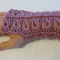 Crochet PATTERN Fingerless Gloves Broomstick by kickincrochet