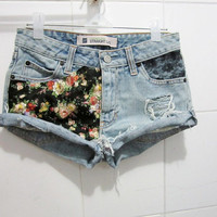 Make To Order - Hipster Vintage Florals in Black Cotton Printed and Black Lace Cut Off Shorts