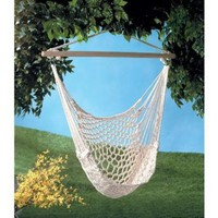 Amazon.com: Gifts & Decor Cotton Rope Hammock Cradle Chair with Wood Stretcher: Patio, Lawn & Garden