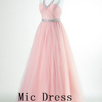High quality V-neck Sleeveless Floor-length sashes beading long A-line long Prom/Evening/Party/Homecoming/Bridesmaid/Cocktail/Formal Dress