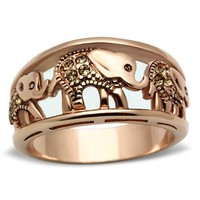 Rose Gold Elephant Parade Crystal Ring
