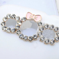 2PCS bowknot alloy camera hole accessories for Samsung Galaxy SIII S3 I9300 (Phone case not included)