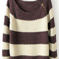 Coffee White Striped Long Sleeve Zipper Sweater S017