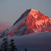 Mount Hood Photo, Volcano Photography Print, Fiery Mountain Peak Sunset Oregon