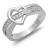0.50 CT Platinum Plated Ladies Round Cut White Cubic Zirconia CZ Promise Ring (Available in size 6,