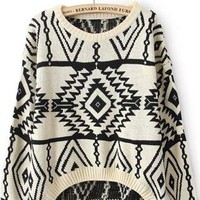 Beige Long Sleeve Geometric Pullovers Sweater S024