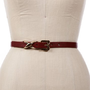 SALE-Burgundy/Gold Metal Infinite Loop Skinny Belt