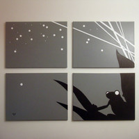 Tree Frog Art Painting - Animal Silhouette Modern Wall Decor - Gray Black White, Starry Night Light Firefly 18 x 24 (Set of 4)