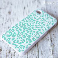 iphone 4 case  Mint Leopard case by BlissfulCASE on Etsy