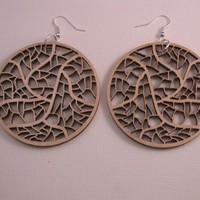 Wooden Laser Cut Earrings - Leave N.. on Luulla