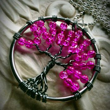 Vivid Pink Cracked Glass Wire Wrapped Tree of Life Pendant Necklace
