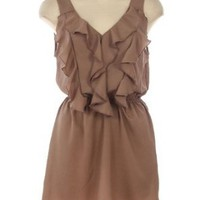 Amazon.com: G2 Chic Ruffle Detailed Sleeveless Woven Dress(CLT-DRS,LBN-M): Clothing