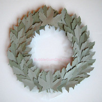 Paper Leaf Wreath Sage and Silver Leaves by BubbleGumDish on Etsy