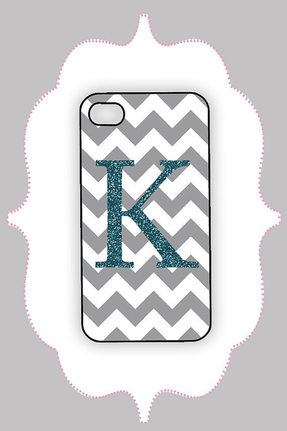 iPhone Case-- Chevron and Glitter Monogram - iPhone Case,Monogram Case, Personalized iPhone Case
