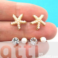 Starfish Star Animal Stud Earring 6 Piece Set with Pearls Rhinestones