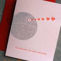 DARTH VADER Letterpess Valentine Card by DingbatPress on Etsy