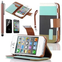 Stylus Flip Leather Pouch Case Cover w/ Credit Card Wallet For Apple iPhone 4 4S