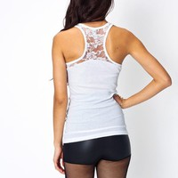 lace-accent-racerback-tank BLACK RED WHITE - GoJane.com