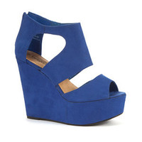 Blue Wide Strap Cage Wedges