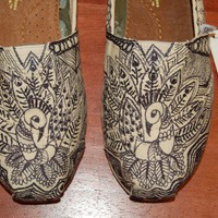 Custom TOMS - Crazy Doodle Peacocks, or your design, your colors, includes shoes